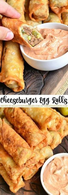 Easy ground beef Recipes - Cheeseburgers and Egg Rolls together are an AMAZING combination. These easy egg rolls are super easy to make and perfect for appetizers, snacks, or party food. You are going to love this delicious quick recipe! Egg Roll Recipes, Easy Recipe For Egg Rolls, Recipes For Snacks, Carnival Eats Recipes, Party Food Recipes, Party Food Meat, Party Food Dishes, Rice Paper Recipes, Catering Recipes