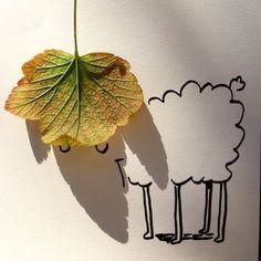 Sombras de objetos cotidianos convertidas en ingeniosas ilustraciones