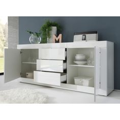 Contemporary White Glossy Lacquer Dining Buffet | Richport Designs