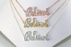 Believe NecklaceCubic ZirconiaSterling Silver by ornatetreasures - $36.00