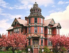 Port Townsend WA Stick Style  This is the Ann Starrett Mansion, one of the most photographed Victorian houses in the country and deservedly so. It is a Stick Style fantasy par excellance, with many interesting features. It is perhaps most noted for its stairway tower, which features a ceiling painting that depicts the four seasons.