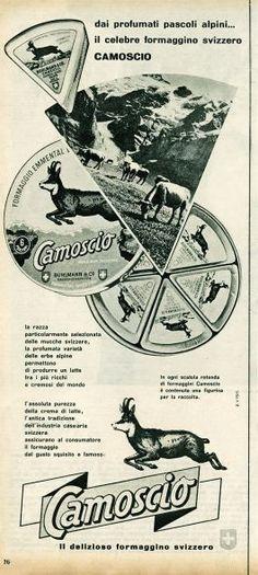 La pubblicità del formaggino Camoscio  Pubblicità da rivista, Anni '60