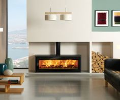 photo of contemporary designer stovax living room sitting room with alcove wood burner