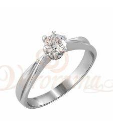 Μονόπετρo δαχτυλίδι Κ18 λευκόχρυσο με διαμάντι κοπής brilliant - MBR_042