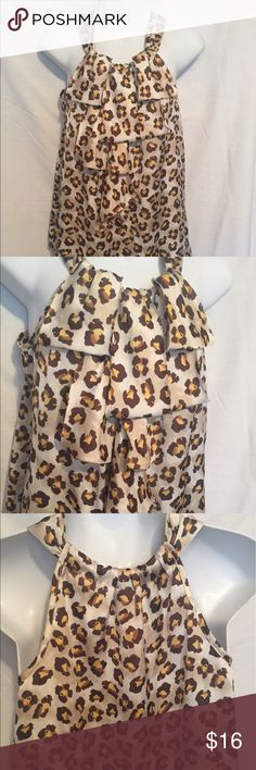 Adiva ruffle blouse leopard print Leopard print ADIVA blouse. Front has ruffles. Very light and airy. adiva Tops Blouses