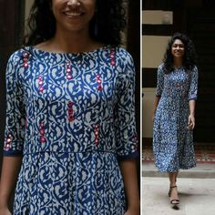 Printed Kurti Designs, Simple Kurti Designs, Kurti Neck Designs, Dress Neck Designs, Embroidery On Kurtis, Kurti Embroidery Design, Simple Embroidery, Kurti Patterns, Frock Dress