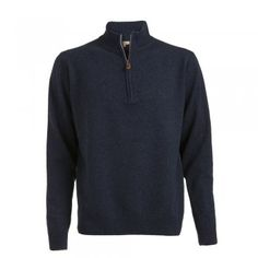 A soft lambswool zip in a denim navy coloured wool. These Magee jumpers are a regular fitting garment. Features include - tonal wolfhound embroidered on the chest and leather tab on zip. Wolfhound, Navy Color, Jumpers, Tweed, Knitwear, Menswear, Wool, Zip, Suits