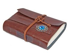 Light Brown Faux Leather Journal with Eye Cameo by boundbyhand