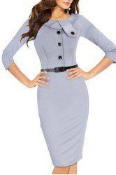 Stylish Round Neck 3/4 Sleeve Button Design Slimming Women's Dress