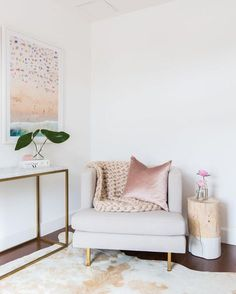 GORGEOUS corner with large chair and blush pink accents