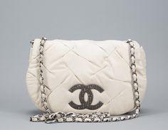 Chanel Ivory Glint Flap Messenger Bag