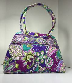 Vera Bradley Bowler Tote Handbag Shoulder Bag Retired Heather Purple Zip Around