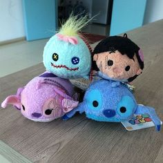 4X Set Tsum Tsum LILO & STITCH&Pink Stitch Angel& Scrump Plush Tiny Toy New