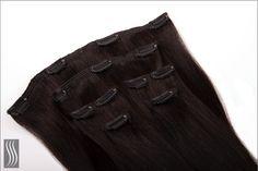 Clip-In Extensions zur Haarverlängerung, Haarfarbe Schwarzbraun.