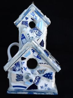 Birdhouse Mosaic 2 story Blue willow dishes by MountainMosaicsmore
