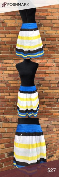 Cynthia Rowley Striped Circle Skirt with Pleats This classic Cynthia Rowley skirt with pockets is 100% and 100% fun. You'll get so much wear out of this skirt this summer and then you can throw some tights under it for fall and winter! Preowned from a smoke free home, in excellent used condition. Check out other listings in my closet to create your own custom bundle! Cynthia Rowley Skirts Circle & Skater
