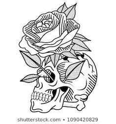 Skull Tattoo Old School Ros . - Skull Tattoo Old School Rose Lifestyle stock vector graphics (without royalties), 1090420829 Skull - Skull Tattoo Design, Flower Tattoo Designs, Skull Tattoos, Girl Tattoos, Sleeve Tattoos, Finger Tattoos, Rosa Old School, Old School Rose, Dahlia Flower Tattoos