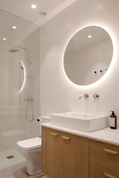 Kresala is a minimalist interior located in Donostia, Spain, designed by Bade Interiorismo Donostia Contemporary Home Offices, Modern Contemporary Bathrooms, Modern Bathroom, Small Bathroom With Shower, Cozy Bathroom, Bathroom Faucets, Public Bathrooms, Dream Bathrooms, White Bathrooms