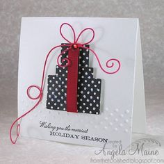 CAS200PARTYA all tied up with string by Arizona Maine - Cards and Paper Crafts at Splitcoaststampers  gorgeous corner bow!