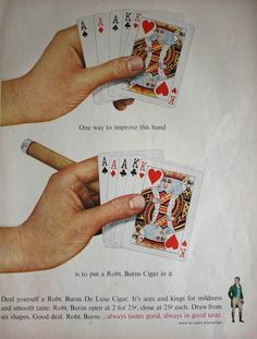 1950s Robt Burns Cigar in Hand Playing Cards Vintage Print Ad | eBay