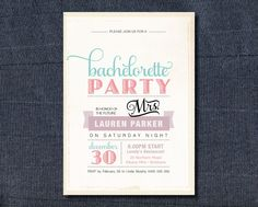 Printable Bachelorette Invitation - Vintage Poster design with sweet pastel colours by lbgirlabouttown