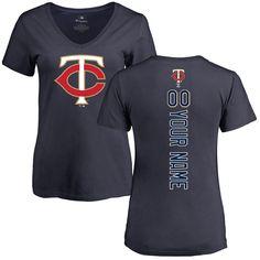 Minnesota Twins Women's Personalized Backer Slim Fit T-Shirt - Navy