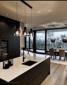 Kitchen Interior, Kitchen Decor, Kitchen Views, Interior Decorating, Interior Design, Dark Interiors, Dream Home Design, Cuisines Design, Modern Kitchen Design