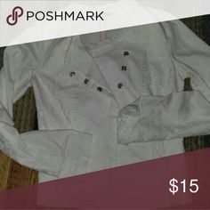 Maurices jacket White jacket with lace down the side. Worn once. Super cute. Maurices Jackets & Coats Jean Jackets