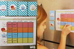"A magnetic chart to pick and mix kids' lunchboxes. Instructions and printables found on <a href=""http://organizeyourstuffnow.com/wordpress/contributor-post"">organizeyourstuffnow</a> blog."