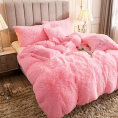 Fluffy Duvet Cover With Pillow Cover 3 Pieces Set – CY Home Collections Pink Bedding, Comforter Sets, Pink Bedspread, Fluffy Bedding, Cute Bedding, Girls Bedding Sets, Dorm Bedding, Fluffy Blankets, Pink Room