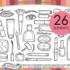 Beauty Cosmetics Doodle Clip Art PNG Instant Download by Nedti