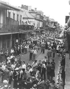 vintagenola:  Bourbon Street during Mardi Gras - 1960 Photo by Dewey Bowman Via Nutrias.org
