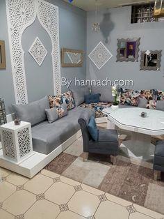 The SALON ZEINA is also available in black. We offer this model in 80 cm of . Moroccan Room, Moroccan Decor, Design Marocain, Arabic Decor, Bright Homes, Moroccan Design, Living Room Interior, Banquettes, Living Room Designs