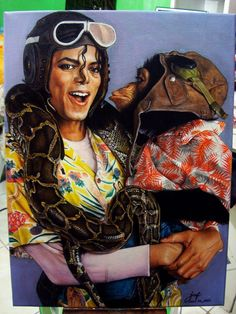 """Michael Jackson's """"Leave me alone"""" Acrylic Painting on Canvas July 2014 I wanna thank my sister Shynn Flores for sticking wi. Michael Jackson Leave me alone Michael Jackson And Bubbles, Michael Jackson Kunst, Michael Jackson Drawings, Michael Jackson Bad Era, Jackie Jackson, Michael Jackson Photoshoot, Mj Bad, American Bandstand, King Of Music"""