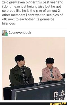 """I love the look on Youngjae's face with this. Like """"He's the freaking maknae! Why is he so huge?!"""""""