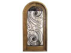 Antique Arched Single Front Door Wrought Iron Inse