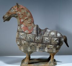 Harnessed horse, grey and polychrome terracotta statuette, China, Chinese Civilization, Northern Wei Dynasty, 5th-6th century