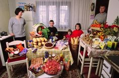 **What A Week Of Groceries Looks Like Around The World** Shows photos of a typical family for each of 15 different countries, Tells what they spend for a weeks worth of groceries and what they buy with that amount AND includes other info on the diets in those counties VERY VERY interesting.