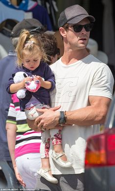 Father and daughter: Australian actor Chris Hemsworth was quite the doting dad last week as he spent some time with his family in Byron Bay, including two-year-old daughter India Rose