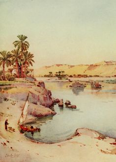 Cane, Ella du (1874-1943) - The Banks of the Nile 1913, Islands of the first cataract. #nile, #egypt, #africa