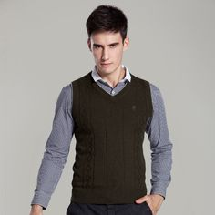 Pivaconis Mens Knitted Woolen Classic Fit Pullover Sweater Sleeveless V Neck Vest
