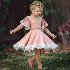 $7.99 - Toddler Kids Baby Girls Dress Lace Floral Party Dress Short Sleeve Dress Clothes #ebay #Fashion