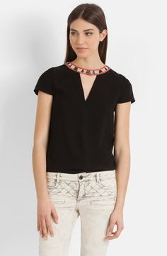 maje 'Bijoux Encolure' Embellished Top available at #Nordstrom