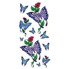 HJLWST 6 Pcs Butterfly Mixed Temporary Tattoo *** Read more at the image link. (This is an affiliate link) #TemporaryTattoos