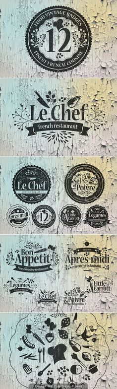 12 Food Vintage Badges