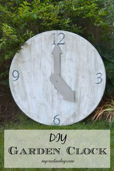 DIY Garden Clock made from upcycled table top. MyCreativeDays.com
