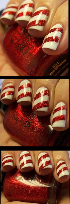 Peppermint strip nails - christmas nail design - nail tutorial - nail art - mardi gras harlequin nails - nails - nailart how to - nail art tutorial #nailart #nails