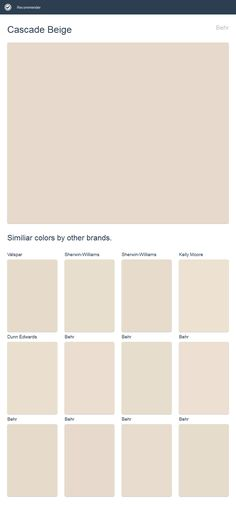 Cascade Beige, Behr. Click the image to see similiar colors by other brands.