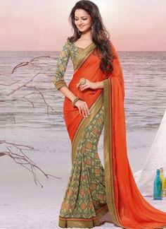 Orange Beige Printed Border Lace Work Chiffon Georgette Half Designer Sarees  #Wedding #Bridal #designer #Saree       http://www.angelnx.com/Sarees