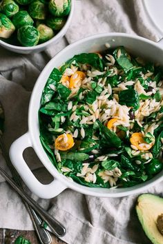 Spinach & Orzo Pasta Salad | via The Blonde Chef